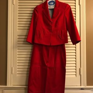 Red skirt suit body by Victoria, jacket 8 skirt 10